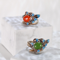 Leaf - Burning Blue Cloisonné Silver Ring