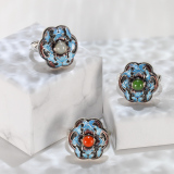 Blossoming -Burning Blue Cloisonné Ring