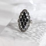 Chinese Artisan Jewelry- Mosaic Diamond - Chalcedony Silver Ring | LIGHT STONE