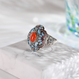 Lotus Flower - Burning Blue Cloisonné Silver Ring