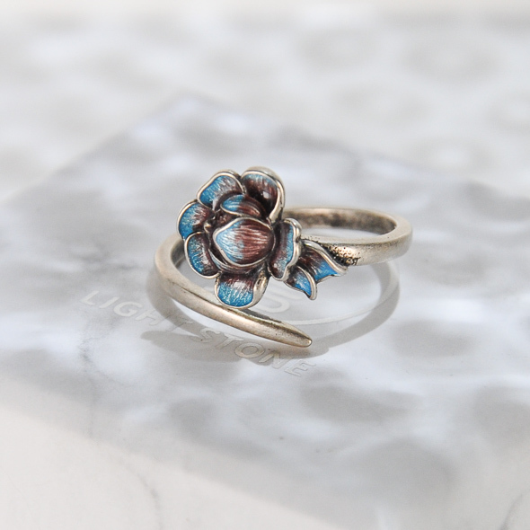Peony - Burning Blue Cloisonné Silver Ring