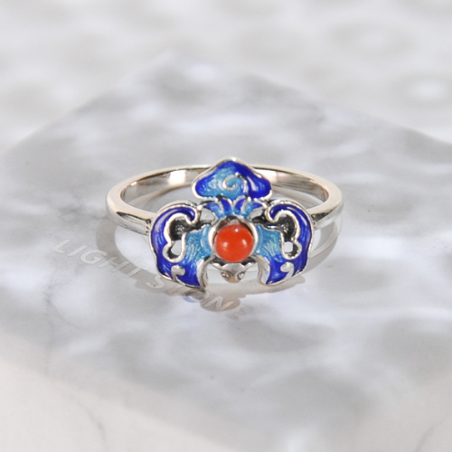 Lucky Bat - Burning Blue Cloisonné Silver Ring