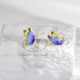 Butterfly - Water Painting Burning Blue Cloisonné Silver Ear Stud