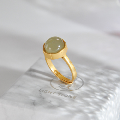 Round - Green Jade Silver Ring