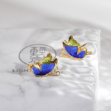 Best Online Earrings - Chinese Enamel Cloisonné Water Painting Butterfly | LIGHT STONE