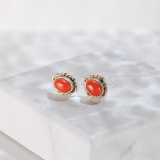 Chinese Handmade Jewelry- Online Shop-Red Coral Tibetan Silver Earrings| LIGHT STONE