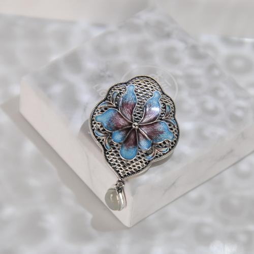 Lotus - Cloisonne Silver Brooch