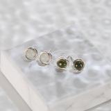 Round Green / White Jade Ear Stud - Online Shop - Chinese Handmade Jewelry | LIGHT STONE