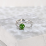 Lucky Ball  - Green Jade Silver Earrings