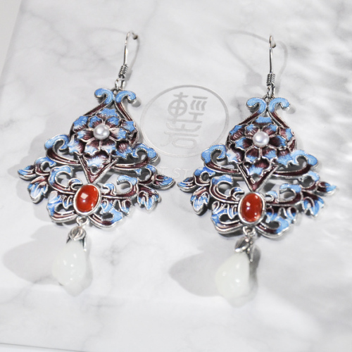 Forbidden City Flower - Cloisonne Silver Earrings