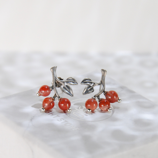 Cherry - Red Agate Silver Earrings