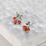 Chinese Artisan Jewelry -Cherry - Red Agate Silver Earrings| LIGHT STONE