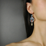 Forbidden City Flower - Chinese Cloisonne Silver Earrings - Online Shop | Light Stone