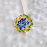 Peony - Cloisonne Beijing Enameling Silver Brooch