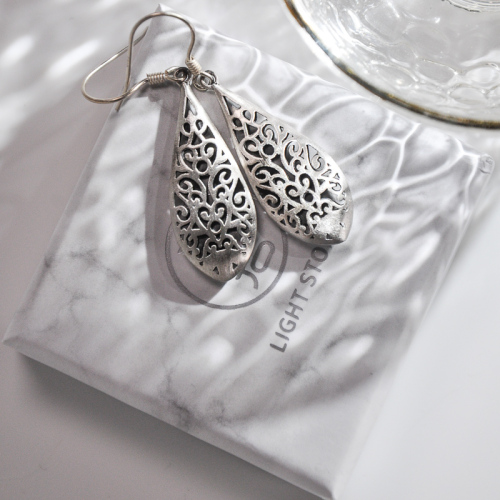 Water Drop - Vintage Silver Earrings