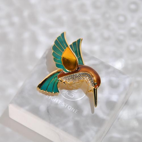 Hummingbird - Cold Enameling Silver Brooch