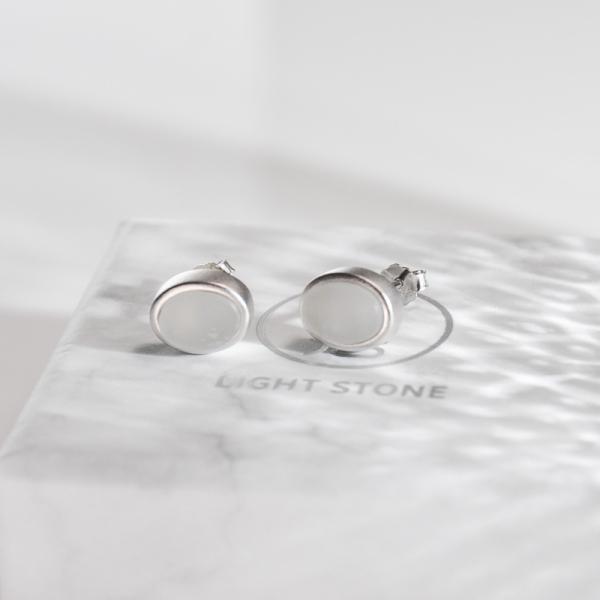 Rêve de Jade - Oval  - Silver Ear Stud