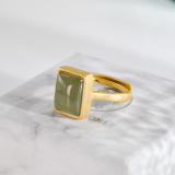 Rectangle - Green Jade Silver Ring