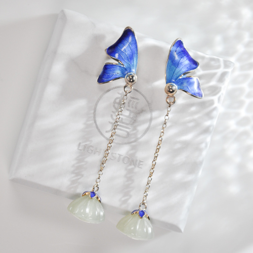Blue Butterfly -  Cloisonné Jade Silver Earrings
