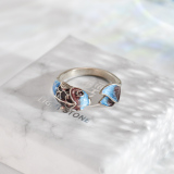 Fish - Burning Blue - Cloisonne Silver Ring