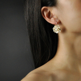 Online Earrings - Flower - Pearl Silver Earrings