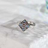 Four Leaves Flower - Cloisonne Silver Ring