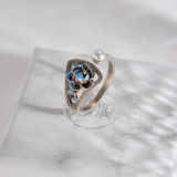 Chinese Handmade Ring - Peony - Cloisonne Silver Ring| LIGHT STONE