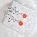 Lucky Clouds - Red Agate Silver Earrings