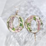 World Under Water - Pink -  1990s Vintage Handmade Cloisonne Earrings | Light Stone