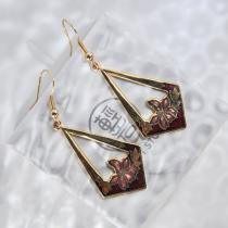 Flower - Vintage Jingtai Blue Cloisonne Earrings