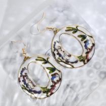 World Under Water - Black - Vintage Jingtai Blue Cloisonne Earrings