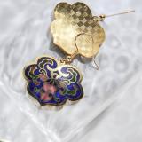 Lucy Clouds - Dark Blue  -  1990s Vintage Handmade Cloisonne Earrings | Light Stone