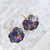Lucy Clouds - Dark Blue  -  1990s Vintage Handmade Cloisonne Earrings | Light Stone