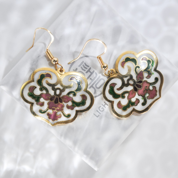 Lucy Clouds - Gold - Vintage Jingtai Blue Cloisonne Earrings