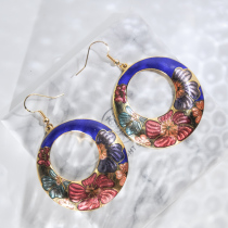 Peony - Blue - Vintage Jingtai Blue Cloisonne Earrings