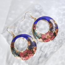 Peony - Blue - Vintage Jingtai Blue Cloisonne Earrings