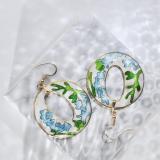 World Under Water - Wave- Vintage Jingtai Blue Cloisonne Earrings