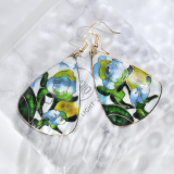 Summer - Vintage Jingtai Blue Cloisonne Earrings