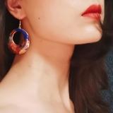 Peony - Blue-  1990s Vintage Handmade Cloisonne Earrings | Light Stone