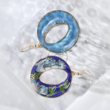 World Under Water - Blue -  1990s Vintage Handmade Cloisonne Earrings | Light Stone