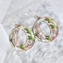 World Under Water - Pink - Vintage Jingtai Blue Cloisonne Earrings