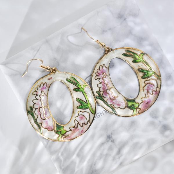 World Under Water - Pink - Vintage Jingtai Blue Cloisonne Earrings