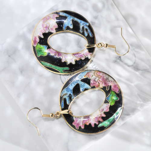 World Under Water - Black Pink - Vintage Jingtai Blue Cloisonne Earrings