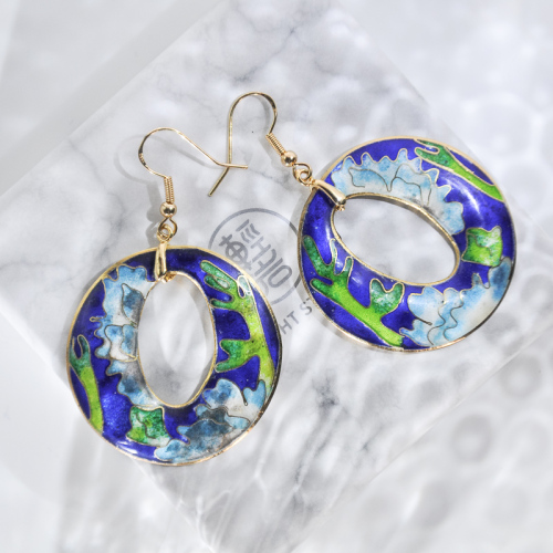 World Under Water - Deep Blue - Vintage Jingtai Blue Cloisonne Earrings