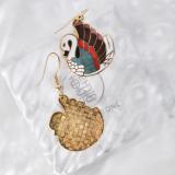 Duck - Vintage Jingtai Blue Cloisonne Earrings   Light Stone