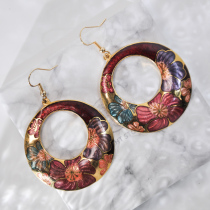 Peony - Red - Vintage Jingtai Blue Cloisonne Earrings