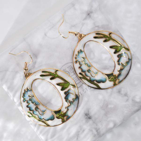 World Under Water - Light Blue - Vintage Jingtai Blue Cloisonne Earrings
