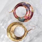 Peony - Red - Vintage Jingtai Blue Cloisonne Earrings