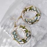World Under Water -Light Blue - 1990s Vintage Handmade Cloisonne Earrings | Light Stone