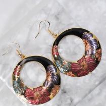 Peony - Black - Vintage Jingtai Blue Cloisonne Earrings